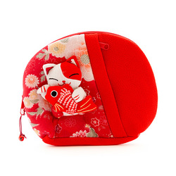 10323 lucky cat make up bag red
