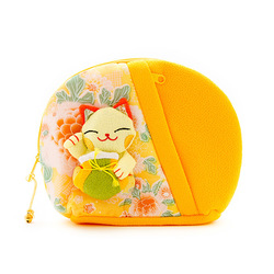 10325 lucky cat make up bag yellow