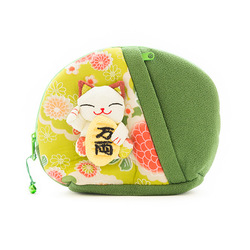10328 lucky cat make up bag green