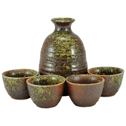 11266 sake set brown green splashes main