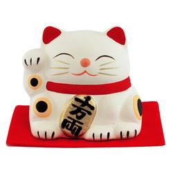 12078 kimura oshido lucky cat figurine white