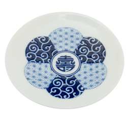 12213 ceramic small serving plate blue traditional japanese pattern