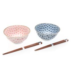 11563 ceramic bowl wooden chopsticks set red blue hexagon