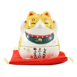 12242 chugaitoen rocking lucky cat yellow tiger pattern