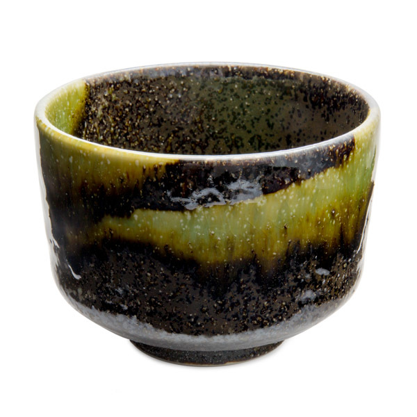 11841 ceramic matcha bowl black green blooming paint