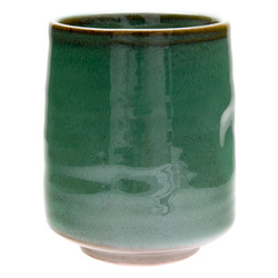 11775 ceramic teacup green brown accents