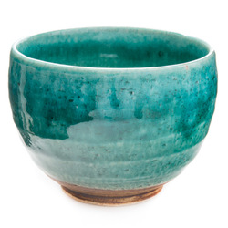 11613 ceramic teacup green mottled
