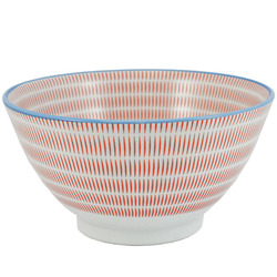 11579 ceramic serving bowl red blue stripe