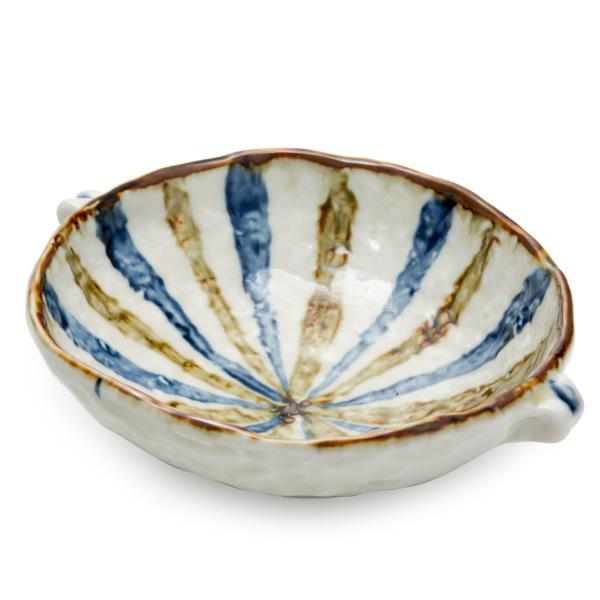 11808 ceramic rice bowl cream brown blue stripe