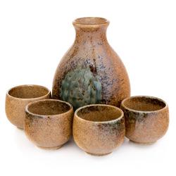 11602 ceramic sake set brown green mottled