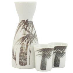 12278 ceramic sake set two cups white bamboo