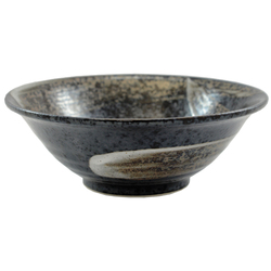 11589 ceramic serving bowl black brushstroke