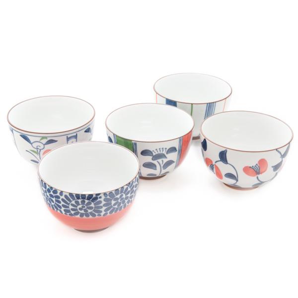11689 ceramic rice bowl set white blue red mixed patterns
