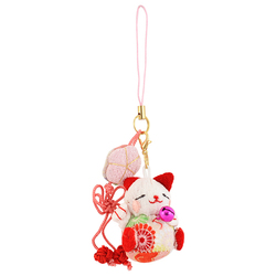 12406 mru company lucky cat key chain pink black