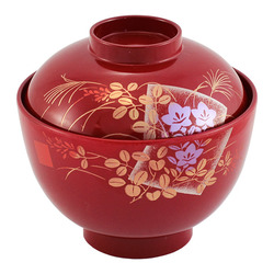 11542 miso soup bowl with lid red japanese pattern