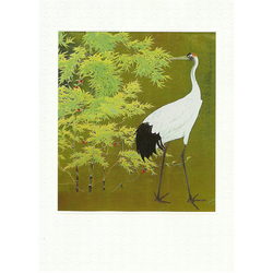 12204 bamboo forest and crane greeting card