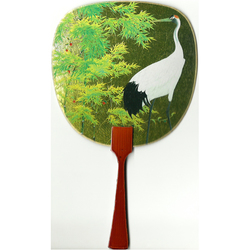 12188 bamboo forest and crane fan card