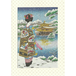 12197 japanese scenery geisha and kinkakuji greeting card