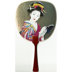 12184 beautiful geisha fan card