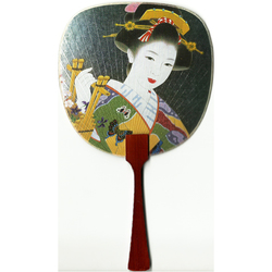 12181 beautiful geisha fan card