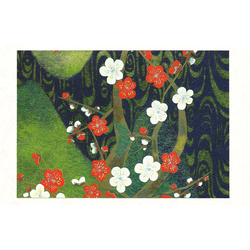 12191 cherry blossom and river greeting card