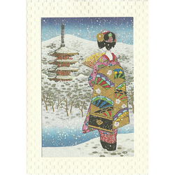 12195 japanese scenery geisha and pagoda greeting card