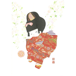12596 girl and cherry blossom greeting card