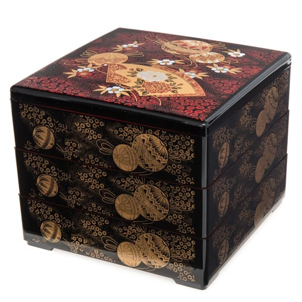 japan centre three tier bento lunch box for serving black and red temari pattern bento. Black Bedroom Furniture Sets. Home Design Ideas