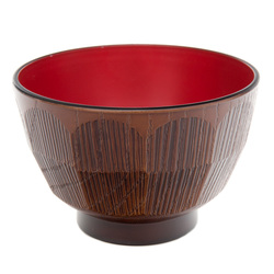 12344 lacquer soup bowl brown red