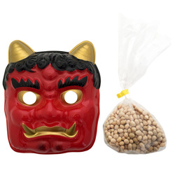 12820 red oni devil mask and roasted soy beans set