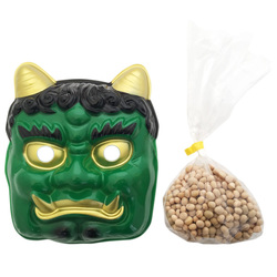 12821 green oni devil mask and roasted soy beans set